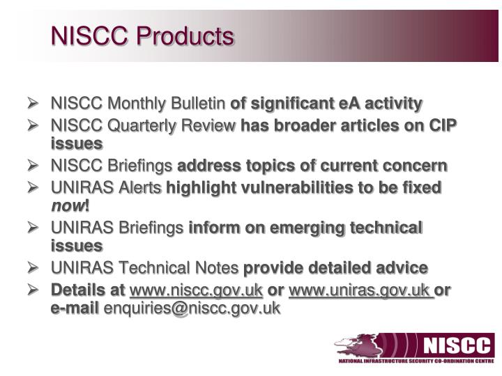 NISCC Products