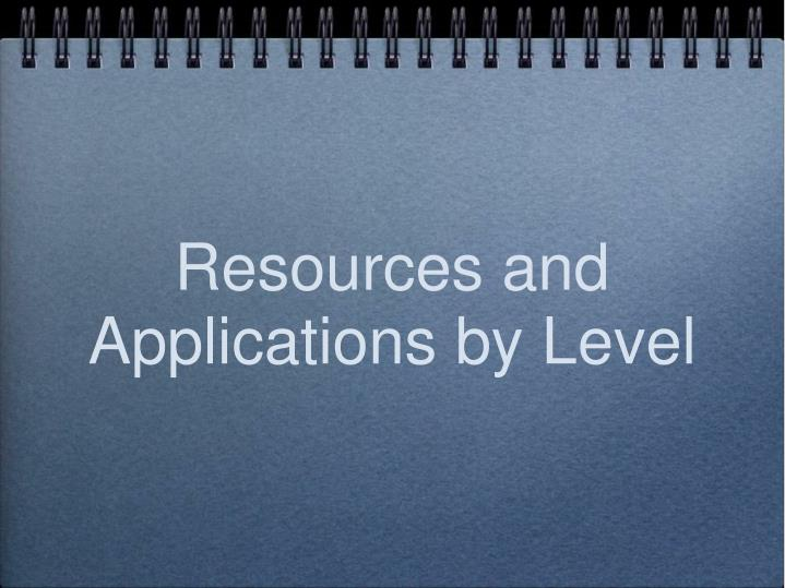Resources and Applications by Level