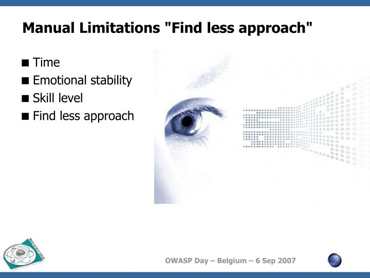 """Manual Limitations """"Find less approach"""""""