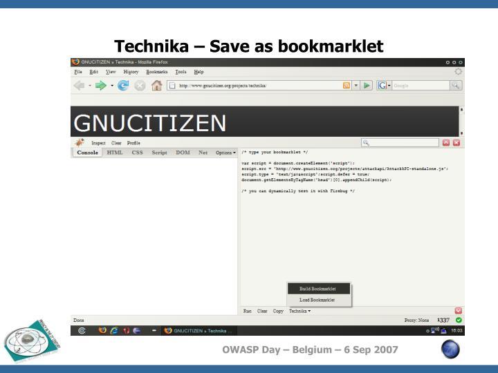 Technika – Save as bookmarklet