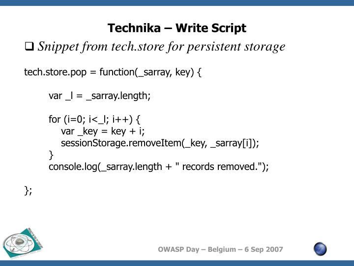 Technika – Write Script