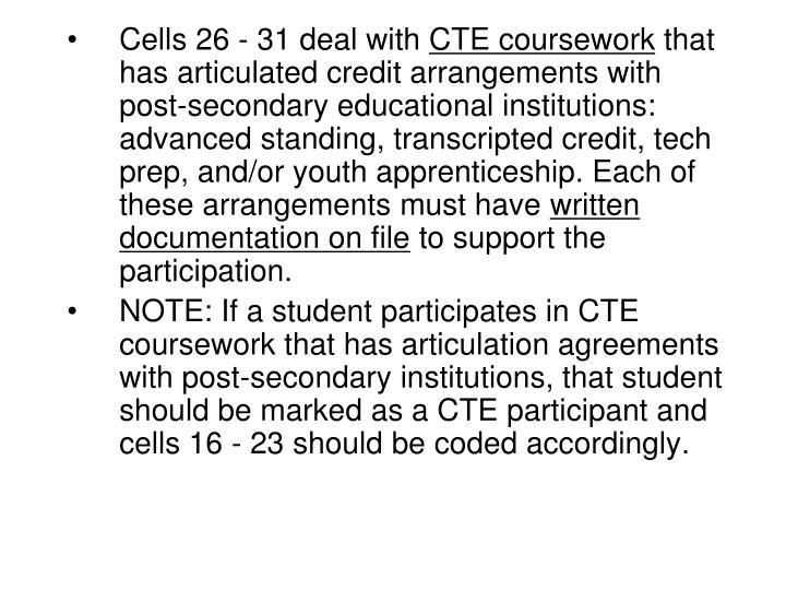 Cells 26 - 31 deal with