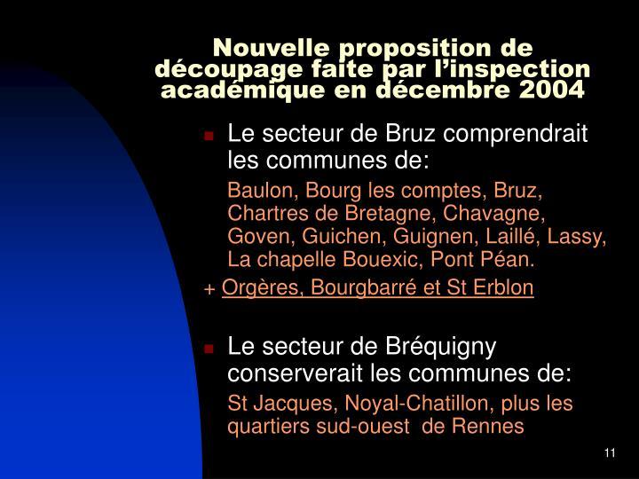 Nouvelle proposition de découpage faite par l'inspection académique en décembre 2004
