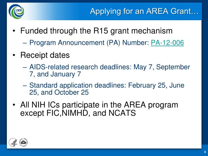 Applying for an AREA Grant…