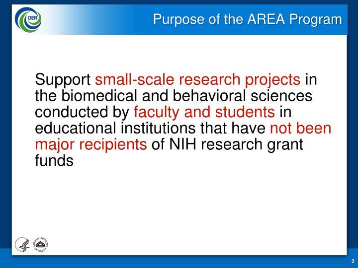 Purpose of the area program