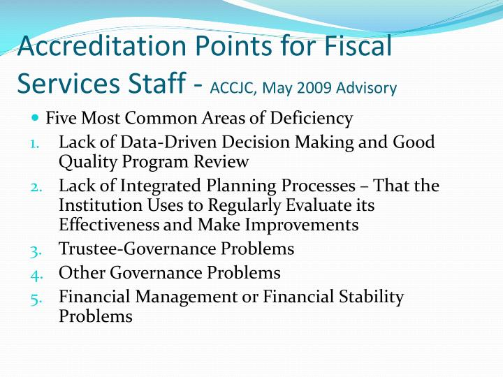 Accreditation Points for Fiscal Services Staff -