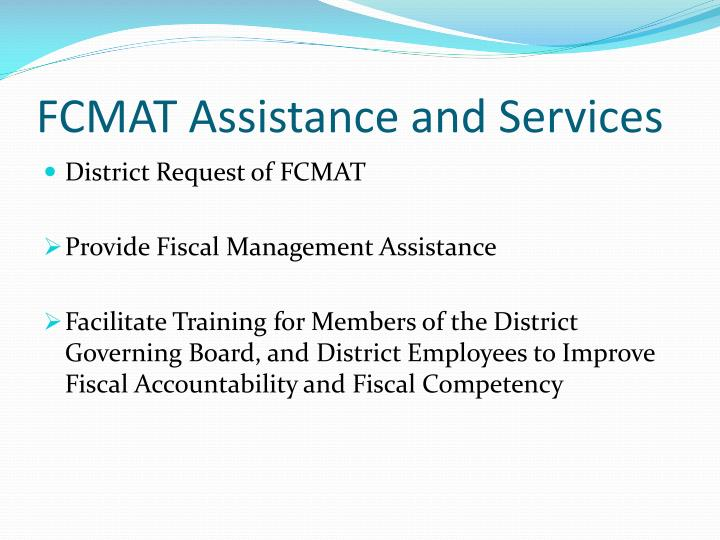 FCMAT Assistance and Services