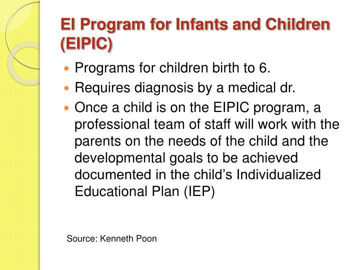 EI Program for Infants and Children (EIPIC)