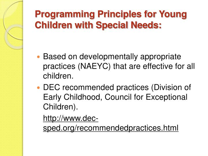 Programming Principles for Young Children with Special Needs:
