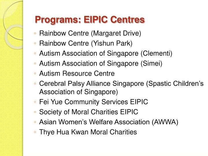 Programs: EIPIC Centres