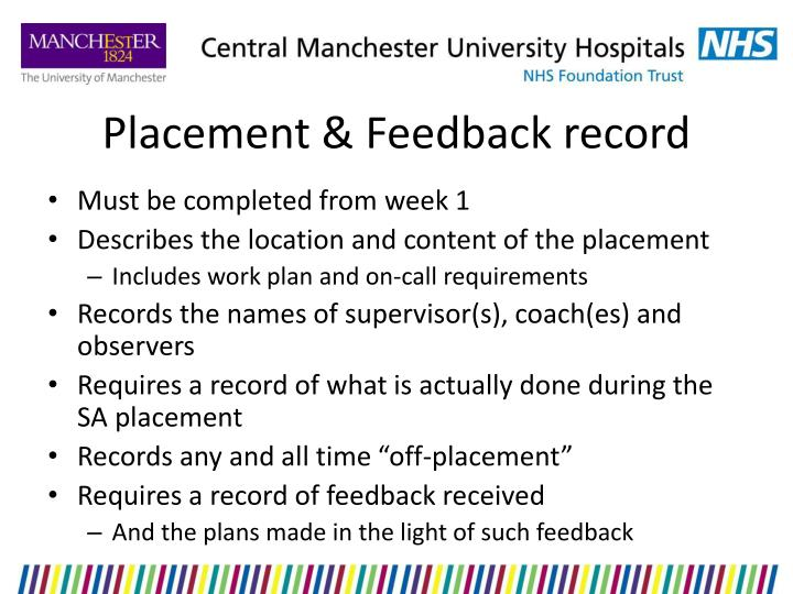 Placement & Feedback record