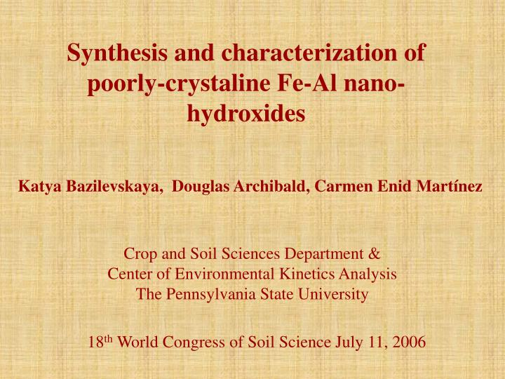 Synthesis and characterization of poorly-crystaline Fe-Al nano-hydroxides