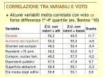 correlazione tra variabili e voto