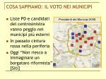 cosa sappiamo il voto nei municipi