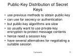 public key d istribution of secret keys