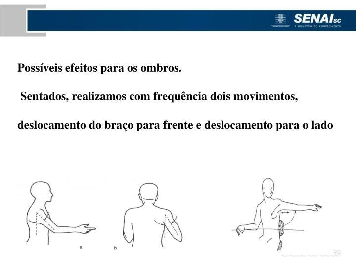 Possíveis efeitos para os ombros.