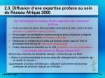 2 3 diffusion d une expertise profane au sein du r seau afrique 2000