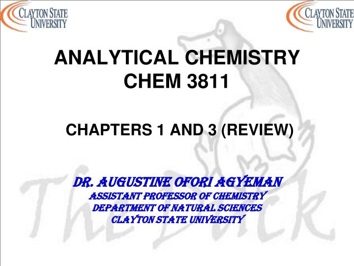 analytical chemistry chem 3811 chapters 1 and 3 review n.
