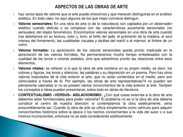 ASPECTOS DE LAS OBRAS DE ARTE