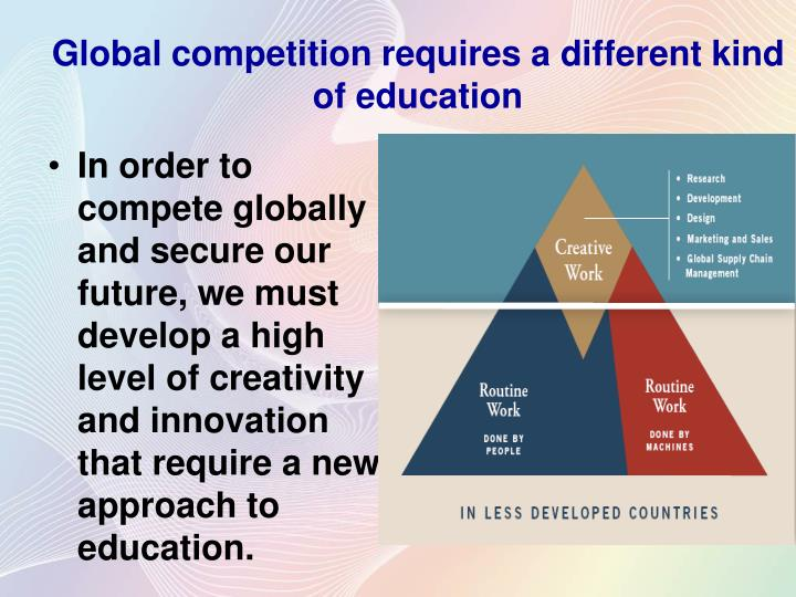 In order to compete globally and secure our future, we must develop a high level of creativity and innovation that require a new approach to education.