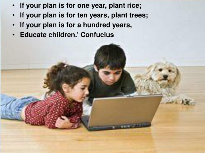 If your plan is for one year, plant rice;