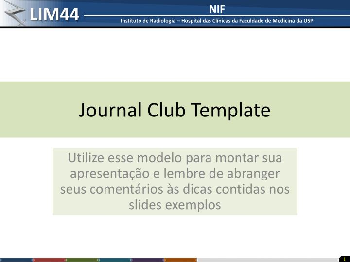Ppt Journal Club Template Powerpoint Presentation Free