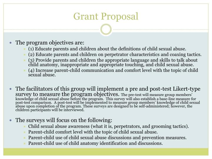 child abuse prevention program grant proposal The foundation is interested in proposals utilizing innovative the foundation focuses on child abuse drug abuse prevention intervention research grant.