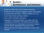 system architecture and interface