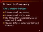 8 need for consistency