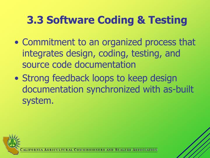 3.3 Software Coding & Testing