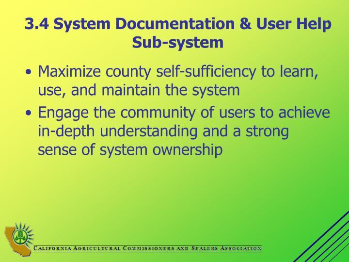 3.4 System Documentation & User Help Sub-system