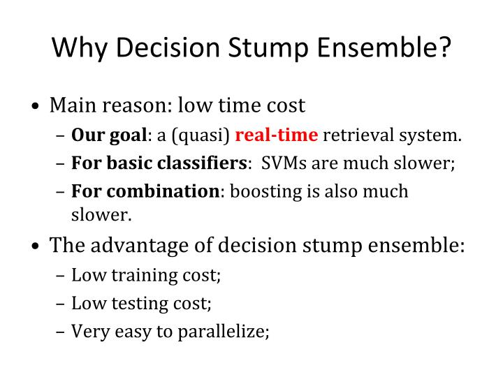 Why Decision Stump Ensemble?