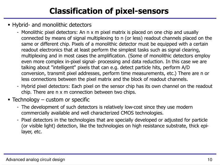Classification of pixel-sensors