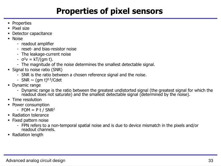 Properties of pixel sensors