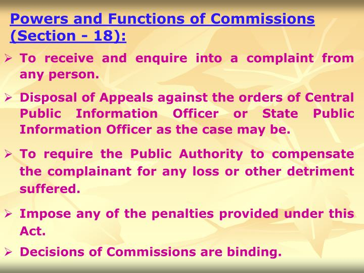 Powers and Functions of Commissions (Section - 18):