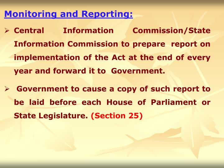 Monitoring and Reporting: