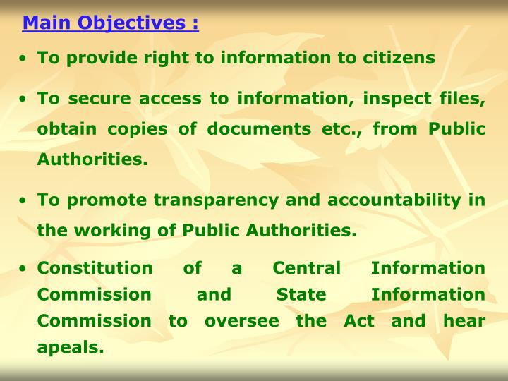 Main Objectives :