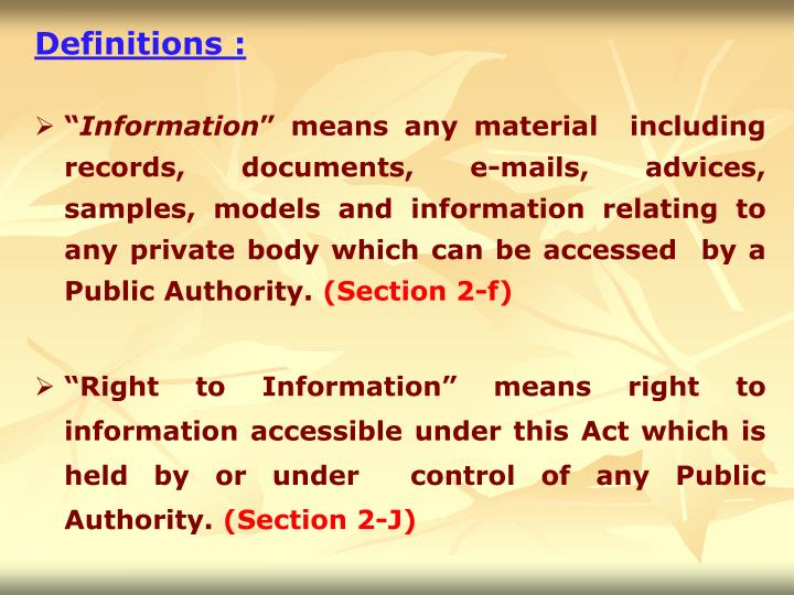 Definitions :