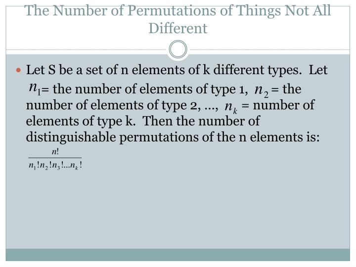 The Number of Permutations of Things Not All