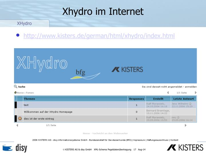 Xhydro im Internet