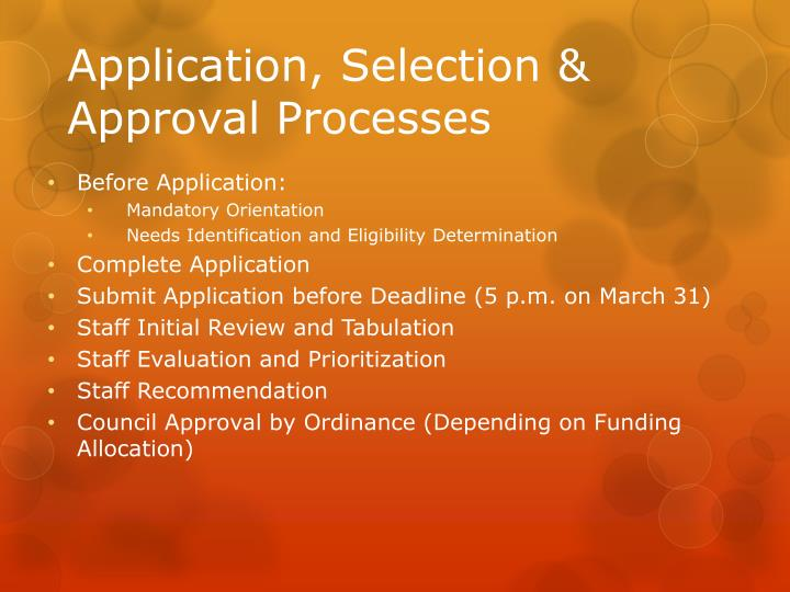 Application, Selection & Approval Processes