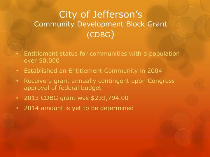 City of jefferson s community development block grant cdbg