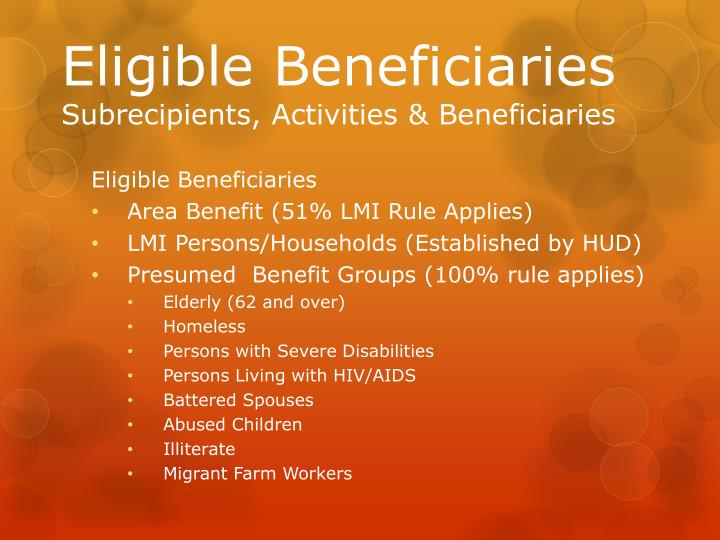 Eligible Beneficiaries