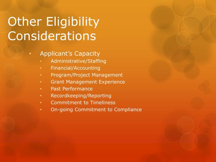 Other Eligibility Considerations