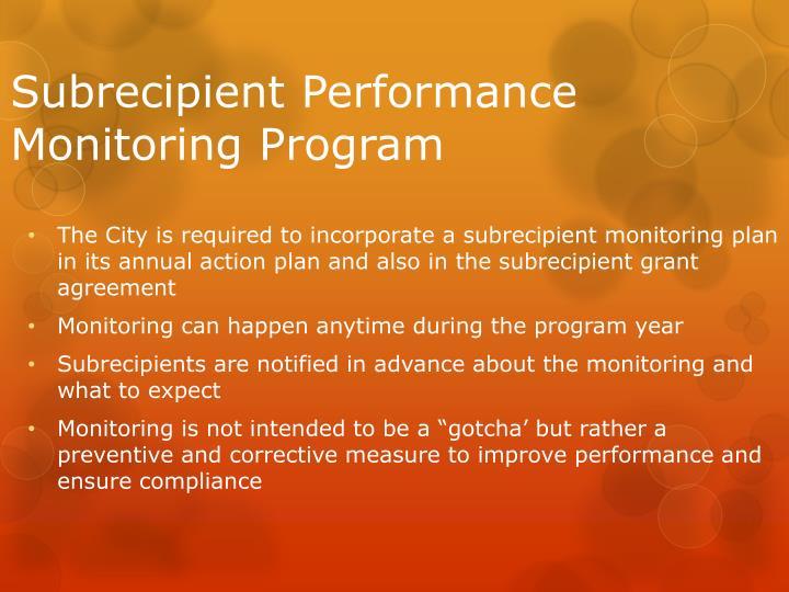 Subrecipient Performance Monitoring Program