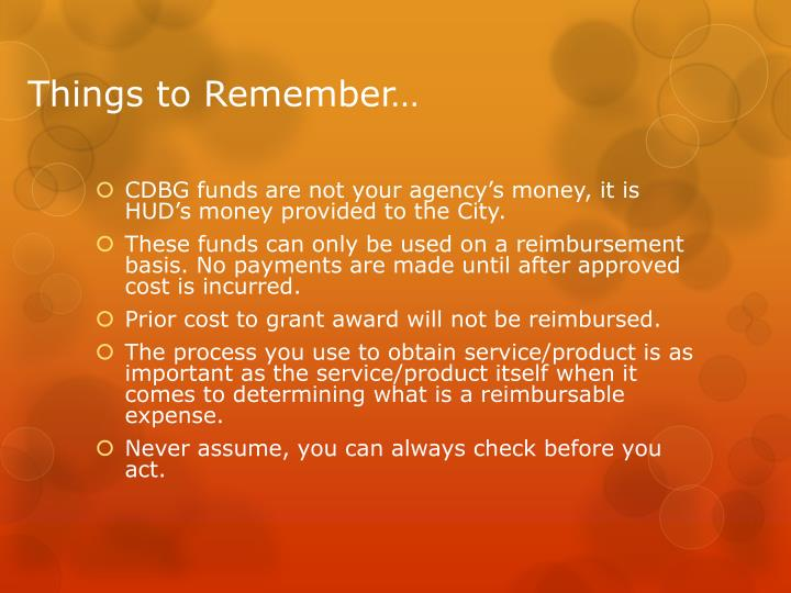 Things to Remember…
