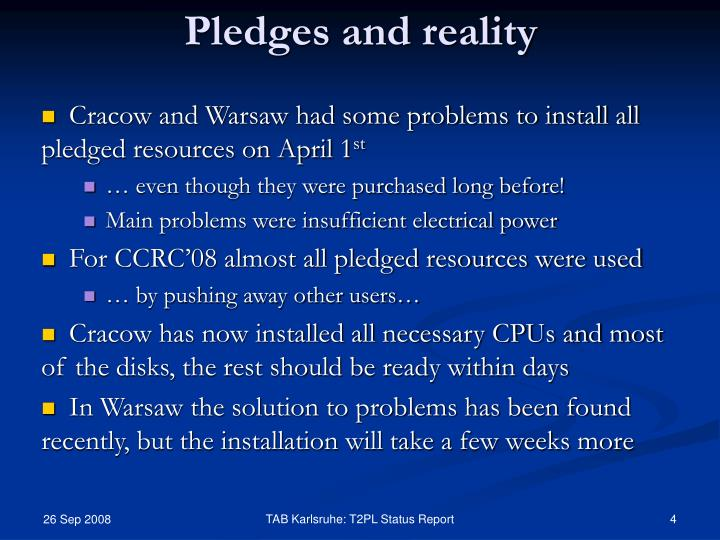 Pledges and reality