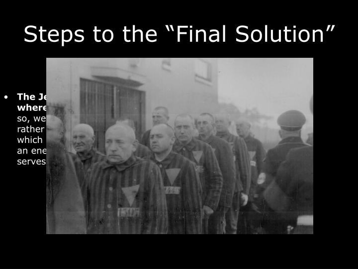 """Steps to the """"Final Solution"""""""