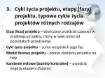 cykl ycia projektu etapy fazy projektu typowe cykle ycia projekt w r nych rodzaj w