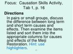 focus causation skills activity tab 1 p 16